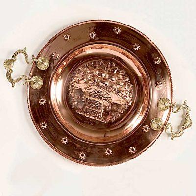Brasero Canasto o Reyes, fabricado en Cobre y Asas de Bronce