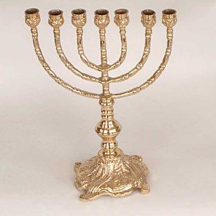 Candelero Judío 7 Brazos Grabado. Fabricado en Bronce