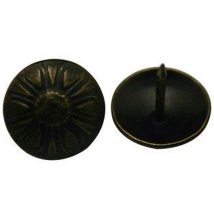 Cabezal de clavo redondo con forma de flor, cabeza grande, color latón antiguo