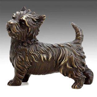 Figura Decorativa de Perro de Bronce