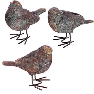 Gorriones aves bronce